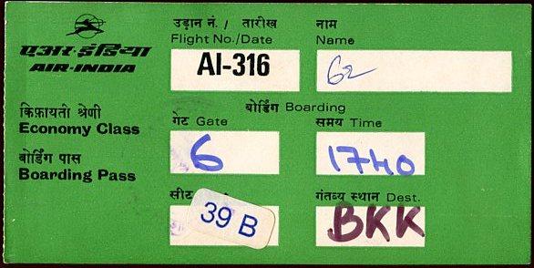 Air India Boarding Pass