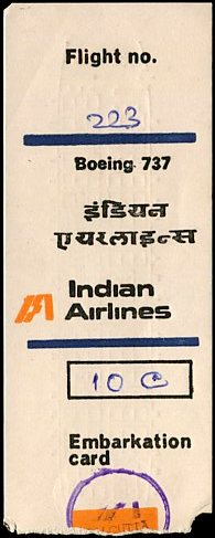 Indian Airlines Boarding Pass