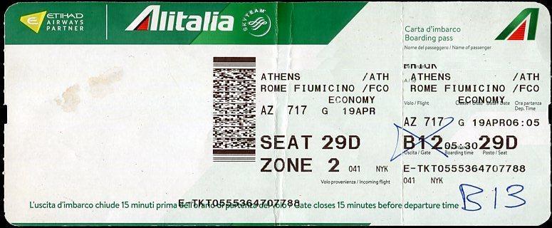 boarding pass alitalia